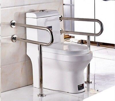 2XFold Up Stainless Length 70CM Toilet Safety Handrail Grab Bar Support Holder *