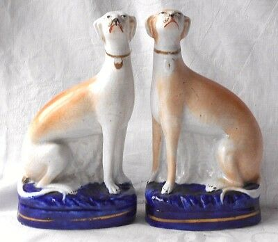 Pair Late C19Th Staffordshire Seated Greyhounds On Bases