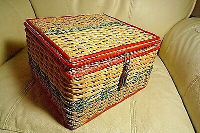 Vintage Woven Wicker Sewing Basket With Contents