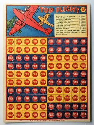 """Vintage 1 Cent Penny Punch Card Game """"TOP FLIGHT"""" by W.H. Brady Co., Unpunched!"""
