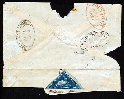 CAPE OF GOOD HOPE TRIANGULAR 1853 SG4 4d USED ON LARGE PART OF COVER.  A46