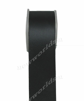 "4y 57mm 2 1/4"" Black Double Sided Premium Heavy Satin Ribbon Eco FREE PP"
