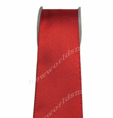 "4y 57mm 2 1/4"" Red Single Faced Sided Premium Wide Satin Ribbon Eco FREE PP"