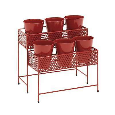 17-inch Metal 2-tier Plant Stand Red