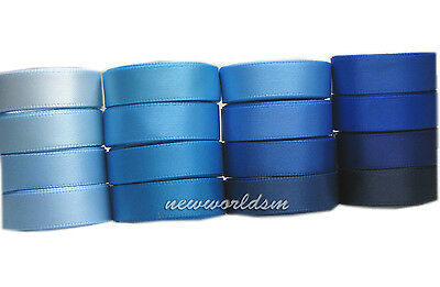 "8y 38mm 1 1/2"" Mixed Blue Shades Premium Single Sided Satin Ribbon Eco FREE PP"