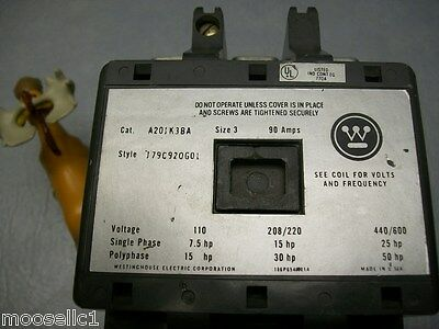 Westinghouse A201K3BA 779C920G01 Size 3 Contactor with Coil 120v - New Contacts!