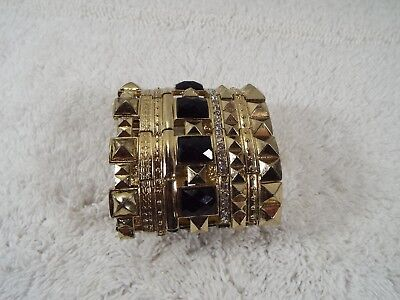 WIDE Goldtone Rhinestone Black Cabochon Egyptian Revival Bracelet (C31)