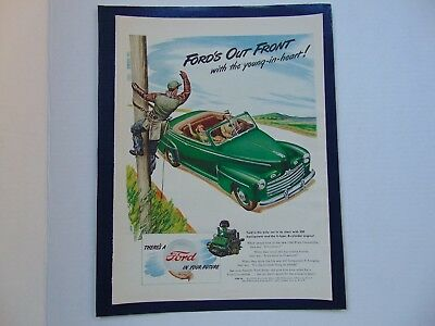 1946-FORD'S OUT FRONT AUTO & TELEPHONE LINEMAN-vintage print ad -900