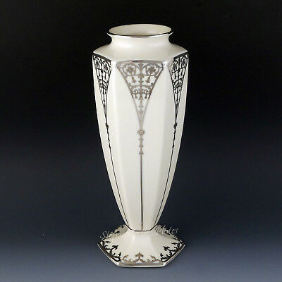 """Lenox China 9"""" CENTENNIAL Vase Sterling Silver Overlay 250 Made in 1989 USA"""