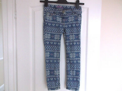 Girls Next Skinny Blue Pink and White Denim Jeans age 7 Years Adjustable Waist