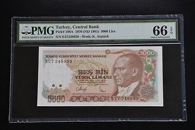 Turkey 1970 Pick#196A PMG66 EPQ 8939