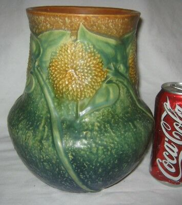 Antique Roseville Usa Sunny Farm Sunflower Art Deco Pottery Flower Garden Vase