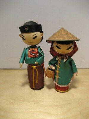 2 Asian fabric dolls man and woman  by Award