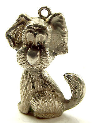 Vintage Silver Charm Large Puffy DOG  Cute