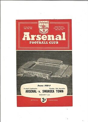 ARSENAL RES. v SWANSEA TOWN RES. 1958/59