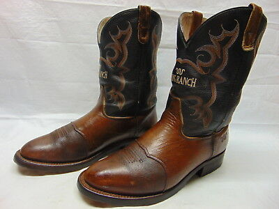 62c277356c6 DOUBLE-H ROPER BLACK Ice Black & Tan Leather King Ranch BISON Boots Mens 11  D