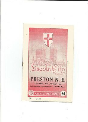 LINCOLN CITY v PRESTON (F.A Cup) 1953/54