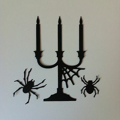 8 X Large Black Candelabra With Web & Spiders Die Cut Shapes-Halloween Candles