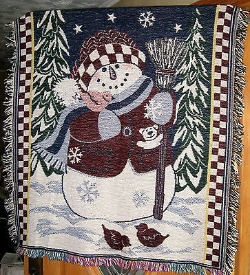 Collectible Snowman Throw Blanket Decorative Winter Tapestry Wall Hanging NIP