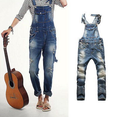Men's Vintage  Overalls Jeans Ripped Holes Trousers Suspenders Blue Youth Pants