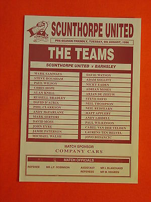 Scunthorpe United v Barnsley,  Friendly   6th August 1996