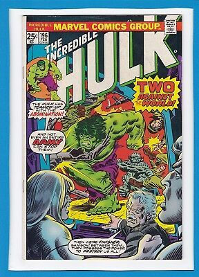 Incredible Hulk #196_February 1976_Very Fine_Abomination_Bronze Age Marvel!