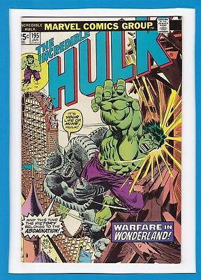 "Incredible Hulk #195_January 1976_F/vf_Abomination_""warfare In Wonderland""!"