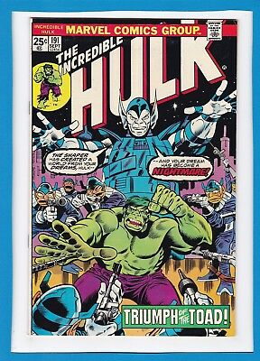 "Incredible Hulk #191_September 1975_F/vf_""triumph Of The Toad""_Bronze Age!"