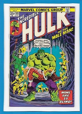 "INCREDIBLE HULK #189_JULY 1975_FINE/VERY FINE_""HULK Vs THE MOLE MAN""_BRONZE AGE!"
