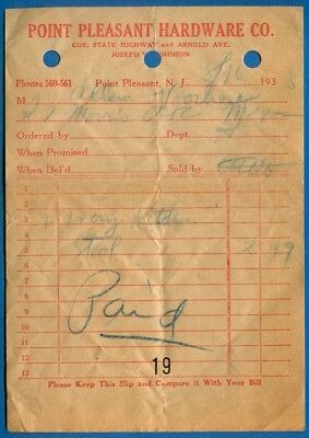 Point Pleasant Hardware Co., Point Pleasant, New Jersey - Store Receipt, 1935