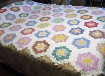 Antique Grandmother's Garden Quilt top Hand stitched Feed sack