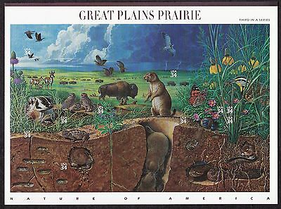 US Stamps #3506 a-j - 2001 -  Great Plains Prairie - pane of 10    - B7084