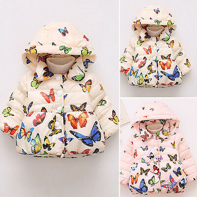 Toddler Kids Baby Girls Fall Winter Warm Button Hooded Coat Outerwear Jacket New
