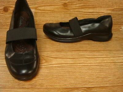 Clarks Black Leather Mary Jane Comfort Ballet Flats Size 6.5 M Worn 1 X