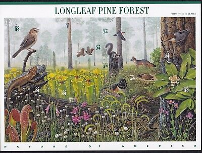 US Stamps #3611 a-j - 2002 -  Longleaf Pine Forest - pane of 10    -   B7088