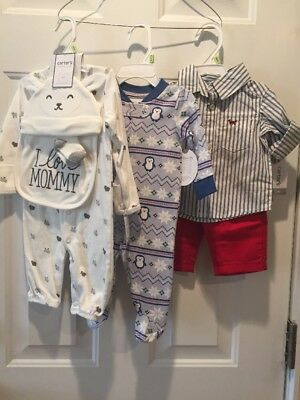 Baby Boy Clothing Lot 0-3 Months Sleepers Holiday Brand New With Tags!