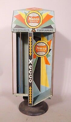 1930s Colorful Art Deco NECCO Candy Wafer ROTATING CANDY STORE DISPLAY TIN LITHO