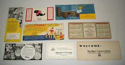 Vintage Advertising Ink Blotter Lot WCMW Radio Station Art Metal Ohio Bank etc