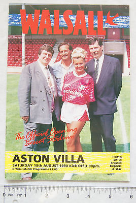 1990 programme Walsall v. Aston Villa, 1st game at Bescot Stadium