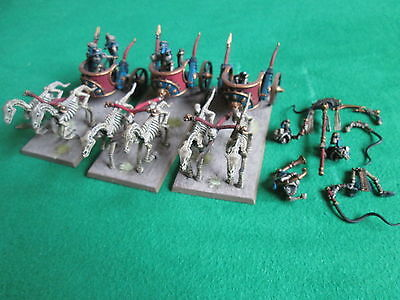 3  X Skeleton Chariots - Tomb Kings - Warhammer - Nicely Painted