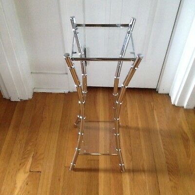 Vintage Chrome Faux Bamboo 2 Tier Hollywood Regency Plant Stand Side Table