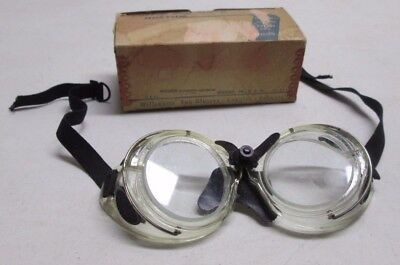 Vintage Willson Safety Cup Goggles Glasses CC402 USA Steampunk Motorcycle w/Box