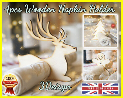 4pcs Christmas Napkin Rings Holder Serviette Holder Wedding Banquet Dinner Deco