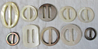 Lot of 10 Vintage Mother of Pearl MOP Scarf Slides / Buckles Beautiful! EXC