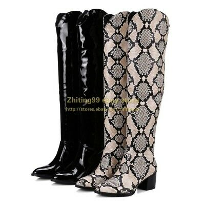 b93736ab90d Riding Womens Snakeskin Knee High Boots Pull On Low Heel Cowboy Shoes  Leather