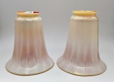 """Lustre Art Glass ~ PAIR RIBBED WHITE & GOLD SHADES ~  5-1/2"""" Tall"""