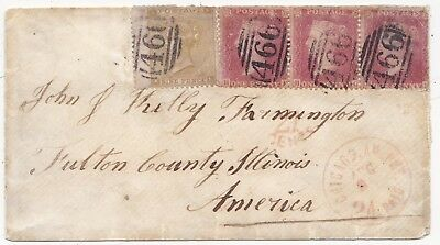 1862 9d STRAW CAT £1000 ON COVER & 3 x 1d =466= LIVERPOOL TO USA 99p STARTER !!