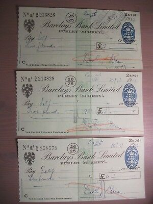 Barclays Bank Limited ~ Purley (Surrey)  ~ 1957 Cheques