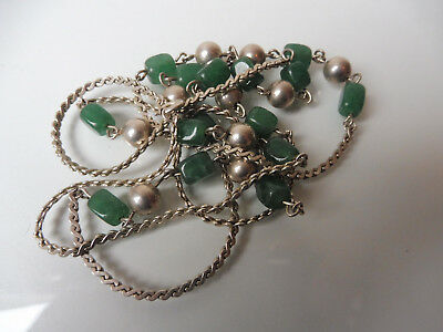VERY NICE, Old, LONG NECKLACE __835 Silver with Fine Jade __95cm__ Necklace