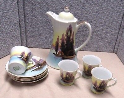 Antique Scenic Hand Painted Nippon Type Chocolate Set Coffee Chikaramachi